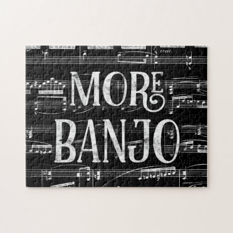 More Banjo Chalkboard - Black White Music Jigsaw Puzzle