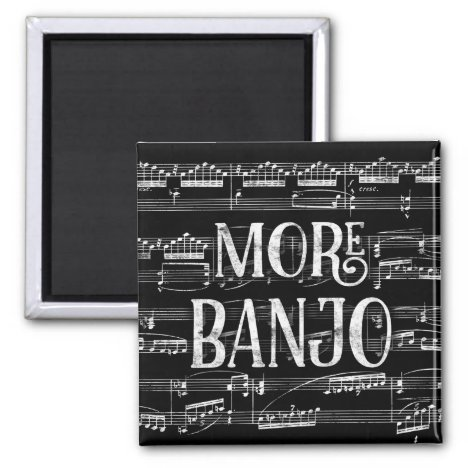 More Banjo Chalkboard - Black White Music Magnet