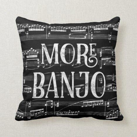 More Banjo Chalkboard - Black White Music Throw Pillow