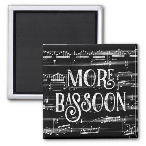 More Bassoon Chalkboard - Black White Music Magnet