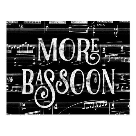 More Bassoon Chalkboard - Black White Music Postcard