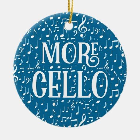 More Cello - Blue White Music Ceramic Ornament