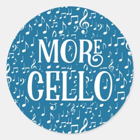 More Cello - Blue White Music Classic Round Sticker