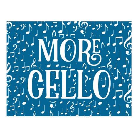 More Cello - Blue White Music Postcard