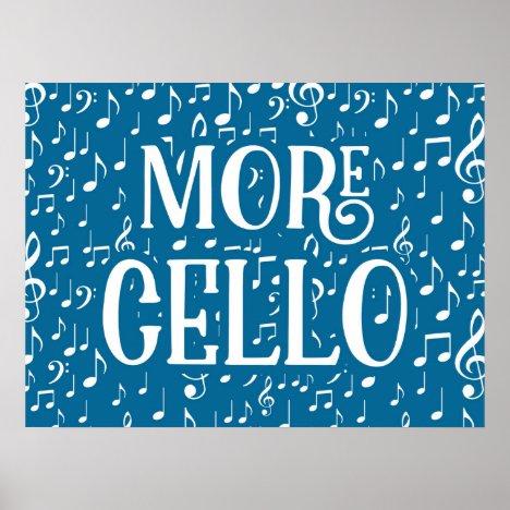 More Cello - Blue White Music Poster
