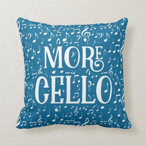 More Cello - Blue White Music Throw Pillow