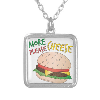 More Cheese Please Square Pendant Necklace