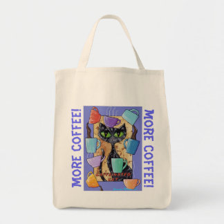 MORE COFFEE! caffeinated Cat Grocery bag