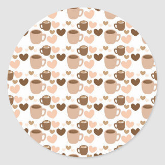 More cute coffee cups on white love hearts classic round sticker