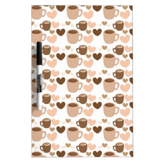 More cute coffee cups on white love hearts Dry-Erase board