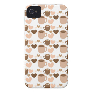 More cute coffee cups on white love hearts iPhone 4 cover