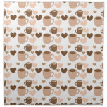 More cute coffee cups on white love hearts napkins
