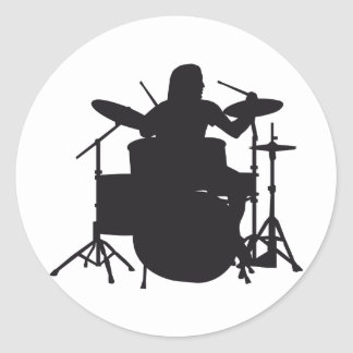 more drummer classic round sticker