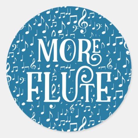 More Flute - Blue White Music Classic Round Sticker
