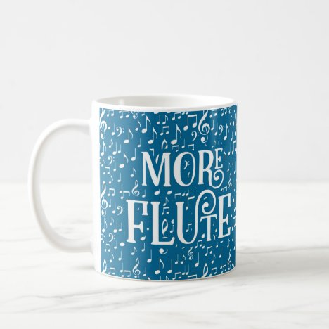 More Flute - Blue White Music Coffee Mug