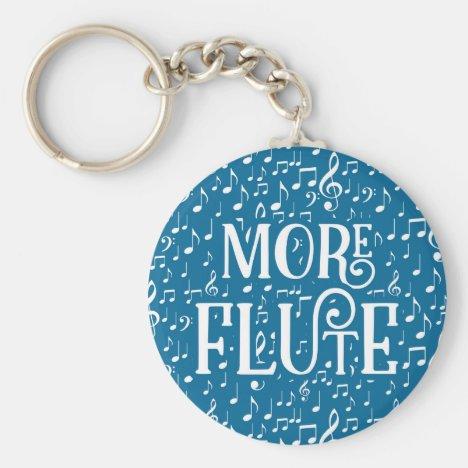 More Flute - Blue White Music Keychain