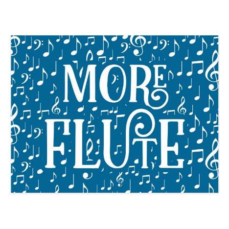 More Flute - Blue White Music Postcard