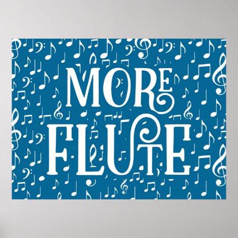 More Flute - Blue White Music Poster