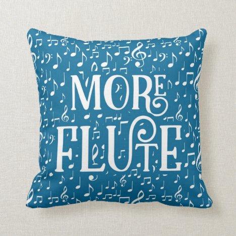 More Flute - Blue White Music Throw Pillow