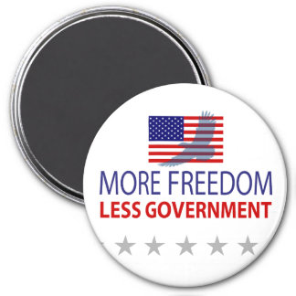 More Freedom Less Government 3 Inch Round Magnet