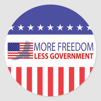 More Freedom Less Government Classic Round Sticker