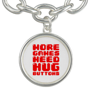 MORE GAMES NEED HUG BUTTONS CHARM BRACELETS