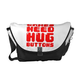 MORE GAMES NEED HUG BUTTONS MESSENGER BAG