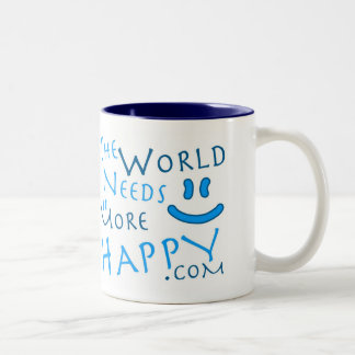 More Happy Mug-blue Two-Tone Coffee Mug