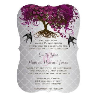 More Hearts Plum Heart Leaf Tree Wedding Invites
