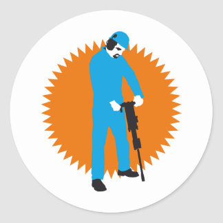 more jackhammer more worker classic round sticker