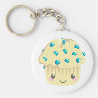More Kawaii Muffin Faces Basic Round Button Keychain