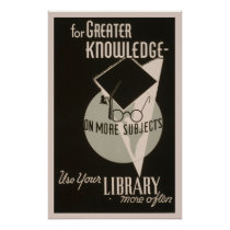 More Knowledge Library 1940 WPA Vintage Poster