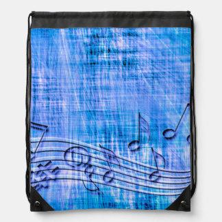 more music blue drawstring bag