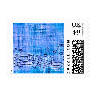 more music blue postage