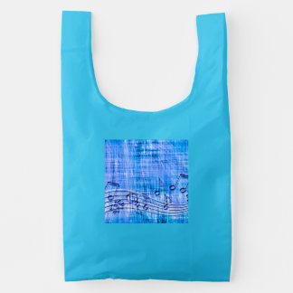 more music blue reusable bag