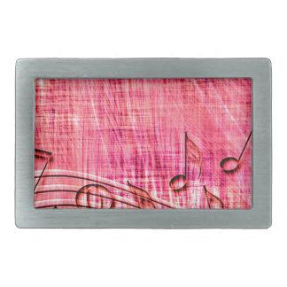 More Music pink Rectangular Belt Buckle