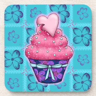 More nicely pink Cupcake with sweet hearts Coaster