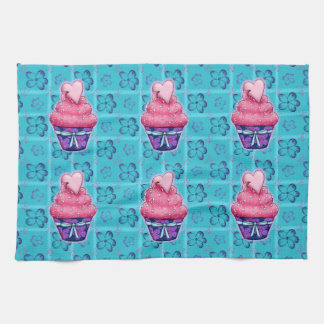 More nicely pink Cupcake with sweet hearts Kitchen Towels