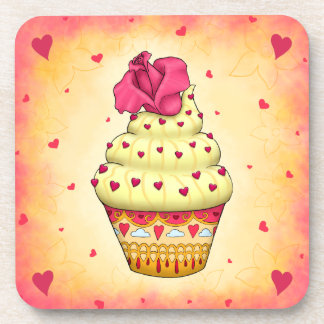 More nicely yellow and pink Cupcake with rose and Drink Coaster