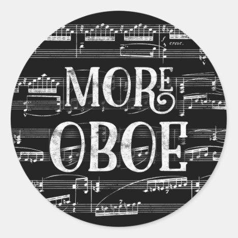 More Oboe Chalkboard - Black White Music Classic Round Sticker