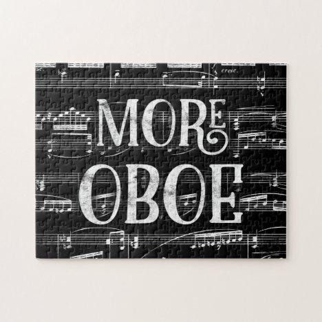 More Oboe Chalkboard - Black White Music Jigsaw Puzzle