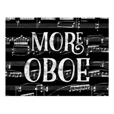 More Oboe Chalkboard - Black White Music Postcard