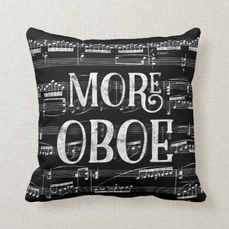 More Oboe Chalkboard - Black White Music Throw Pillow