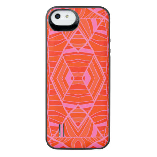 More Orange Than Pink Geo Pattern by KCS Uncommon Power Gallery™ iPhone 5 Battery Case