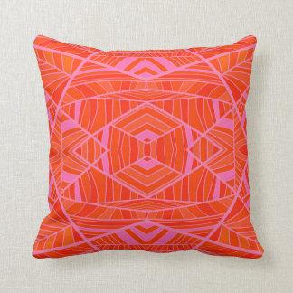 More Orange Than Pink Geometric Pattern by KCS Throw Pillow