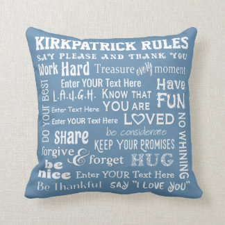 """More Personalized """"Family Rules"""" w/ Your Color Throw Pillow"""