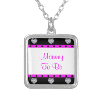 More Precious Than Diamonds Girly Baby Shower Square Pendant Necklace