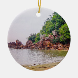 more red rocks of fiji Double-Sided ceramic round christmas ornament