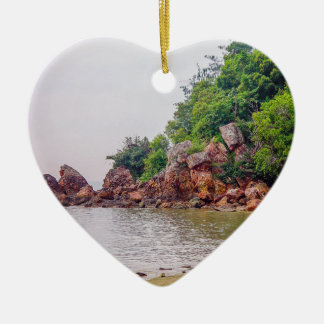 more red rocks of fiji Double-Sided heart ceramic christmas ornament