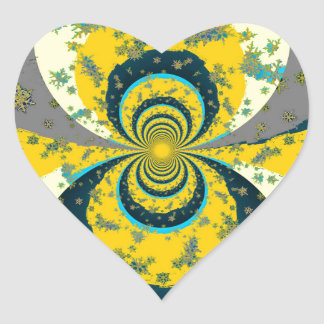 """MORE SNOW IN FORECAST"" YELLOW BLUE ART HEART STICKER"